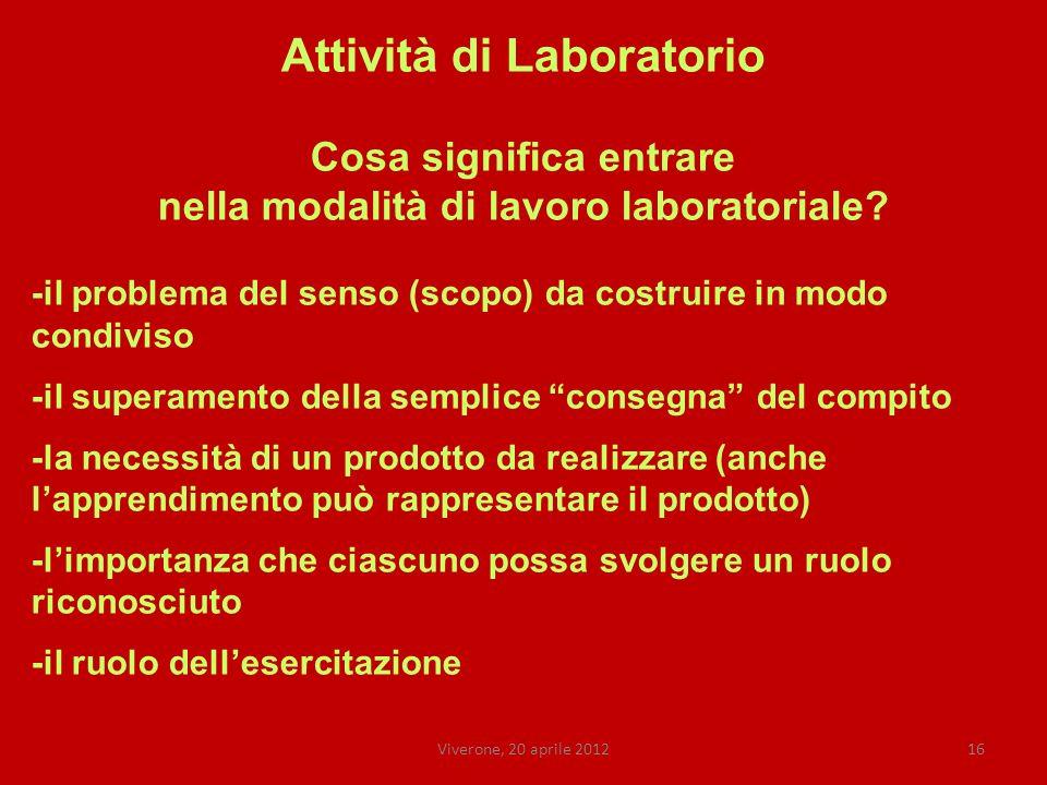 Viverone, 20 aprile 201216 Attività di Laboratorio Cosa significa entrare nella modalità di lavoro laboratoriale.