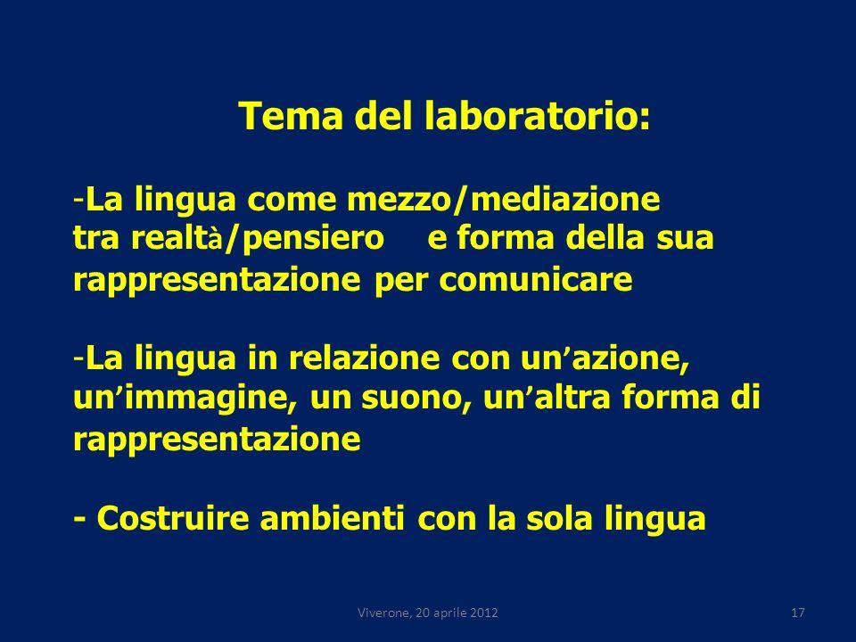 Viverone, 20 aprile 201217 Tema del laboratorio: -La lingua come mezzo/mediazione tra realt à /pensiero e forma della sua rappresentazione per comunicare -La lingua in relazione con un azione, un immagine, un suono, un altra forma di rappresentazione - Costruire ambienti con la sola lingua