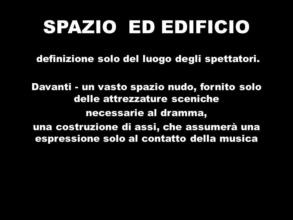 SPAZIO ED EDIFICIO definizione solo del luogo degli spettatori. Davanti - un vasto spazio nudo, fornito solo delle attrezzature sceniche necessarie al