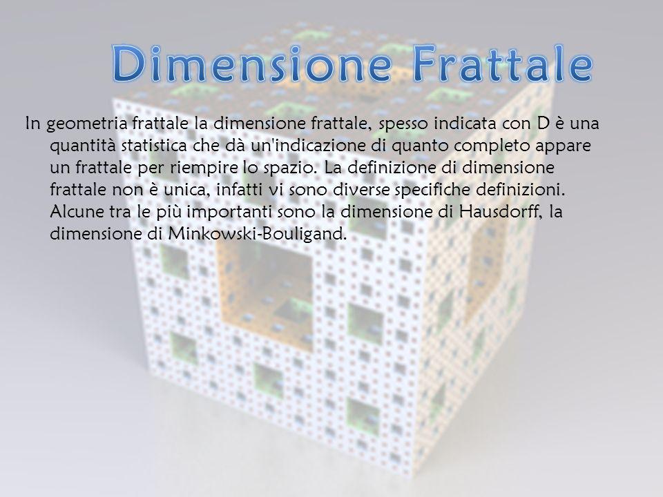 In geometria frattale la dimensione frattale, spesso indicata con D è una quantità statistica che dà un indicazione di quanto completo appare un frattale per riempire lo spazio.