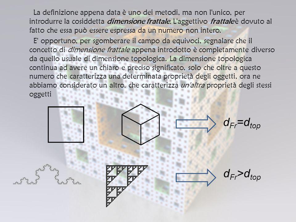La definizione appena data è uno dei metodi, ma non l unico, per introdurre la cosiddetta dimensione frattale.