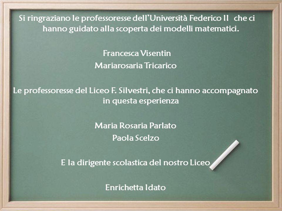 Si ringraziano le professoresse dellUniversità Federico II che ci hanno guidato alla scoperta dei modelli matematici.