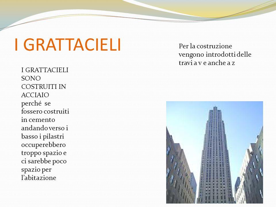 I GRATTACIELI I GRATTACIELI SONO COSTRUITI IN ACCIAIO perché se fossero costruiti in cemento andando verso i basso i pilastri occuperebbero troppo spa