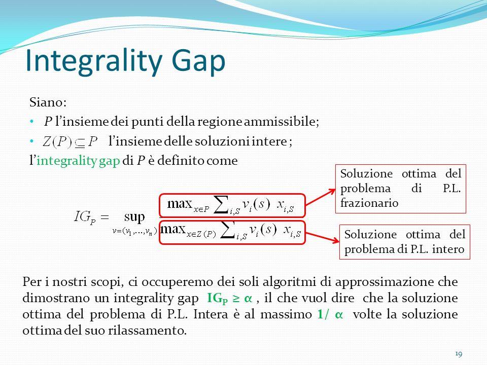 Integrality Gap Siano: P linsieme dei punti della regione ammissibile; linsieme delle soluzioni intere ; lintegrality gap di P è definito come 19 Soluzione ottima del problema di P.L.
