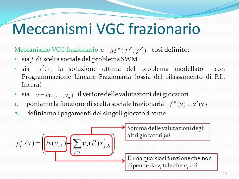 Meccanismi VGC frazionario Meccanismo VCG frazionario è così definito: sia ƒ di scelta sociale del problema SWM sia la soluzione ottima del problema modellato con Programmazione Lineare Frazionaria (ossia del rilassamento di P.L.