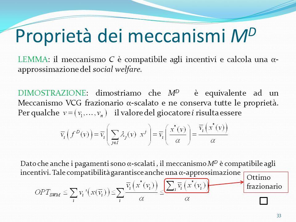Proprietà dei meccanismi M D LEMMA: il meccanismo C è compatibile agli incentivi e calcola una α- approssimazione del social welfare.