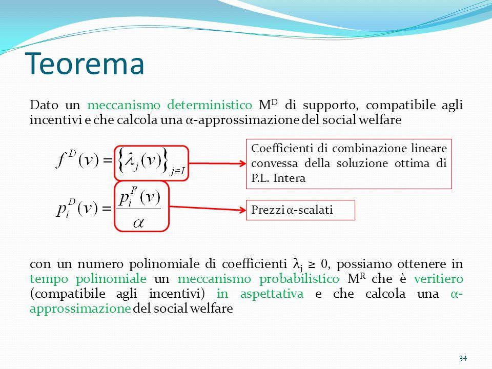 Teorema Dato un meccanismo deterministico M D di supporto, compatibile agli incentivi e che calcola una α-approssimazione del social welfare con un numero polinomiale di coefficienti λ j 0, possiamo ottenere in tempo polinomiale un meccanismo probabilistico M R che è veritiero (compatibile agli incentivi) in aspettativa e che calcola una α- approssimazione del social welfare 34 Coefficienti di combinazione lineare convessa della soluzione ottima di P.L.
