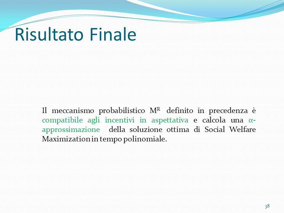 Risultato Finale Il meccanismo probabilistico M R definito in precedenza è compatibile agli incentivi in aspettativa e calcola una α- approssimazione della soluzione ottima di Social Welfare Maximization in tempo polinomiale.