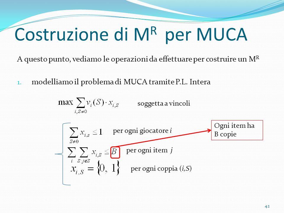 Costruzione di M R per MUCA A questo punto, vediamo le operazioni da effettuare per costruire un M R 1.