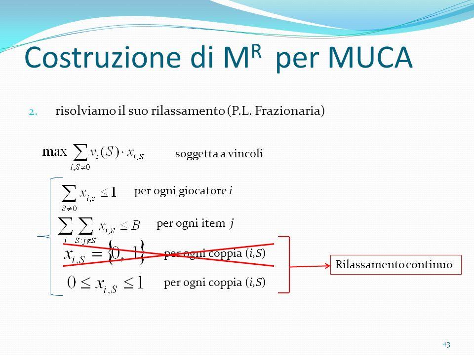 Costruzione di M R per MUCA 2. risolviamo il suo rilassamento (P.L.
