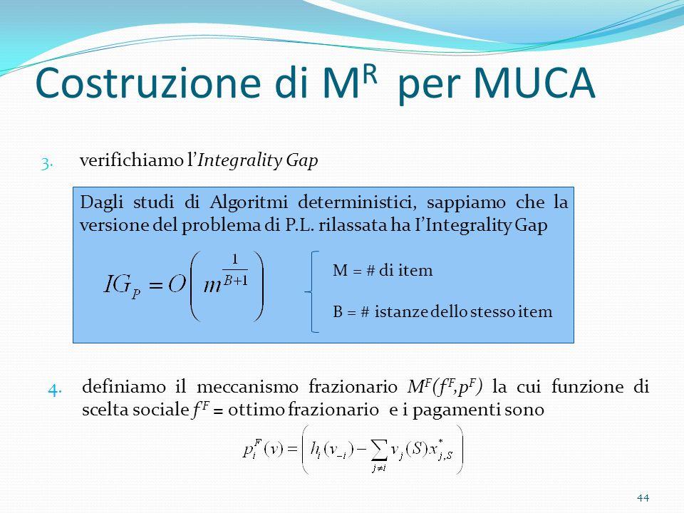 Costruzione di M R per MUCA 3.