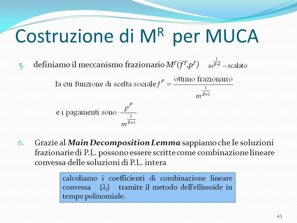 Costruzione di M R per MUCA 6.