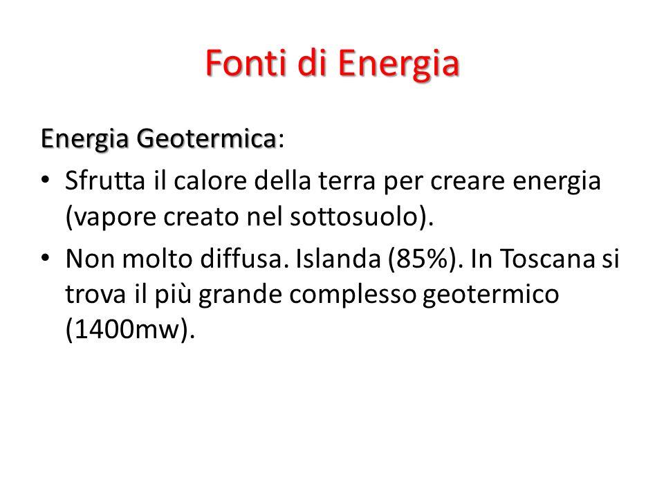 Energia Geotermica Energia Geotermica: Sfrutta il calore della terra per creare energia (vapore creato nel sottosuolo).