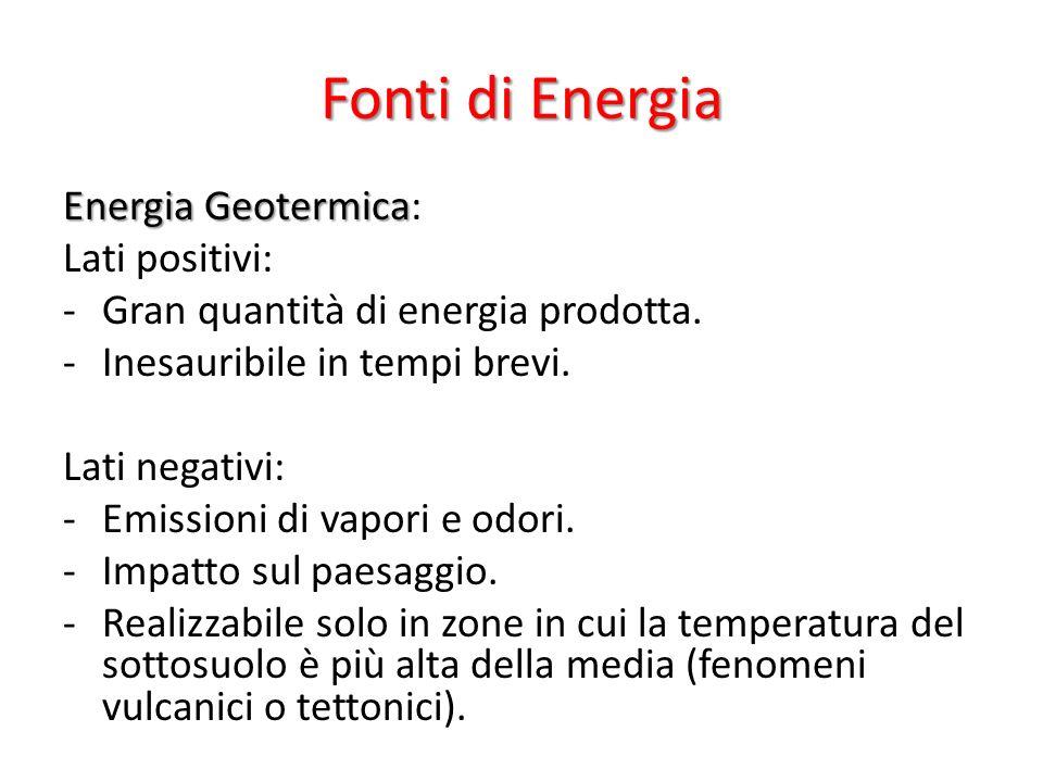 Fonti di Energia Energia Geotermica Energia Geotermica: Lati positivi: -Gran quantità di energia prodotta.