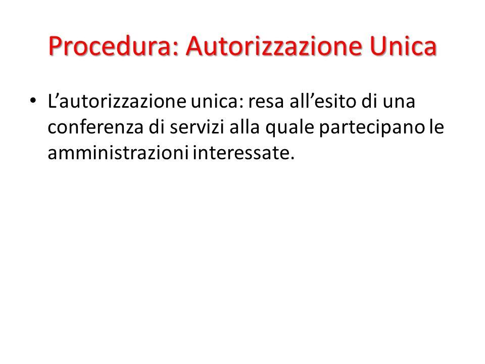 Procedura: Autorizzazione Unica Lautorizzazione unica: resa allesito di una conferenza di servizi alla quale partecipano le amministrazioni interessate.