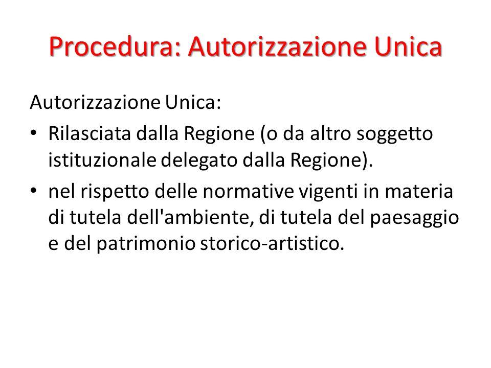Procedura: Autorizzazione Unica Autorizzazione Unica: Rilasciata dalla Regione (o da altro soggetto istituzionale delegato dalla Regione).