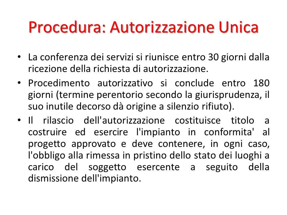 Procedura: Autorizzazione Unica La conferenza dei servizi si riunisce entro 30 giorni dalla ricezione della richiesta di autorizzazione.