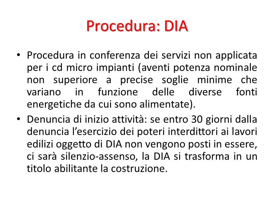 Procedura: DIA Procedura in conferenza dei servizi non applicata per i cd micro impianti (aventi potenza nominale non superiore a precise soglie minime che variano in funzione delle diverse fonti energetiche da cui sono alimentate).