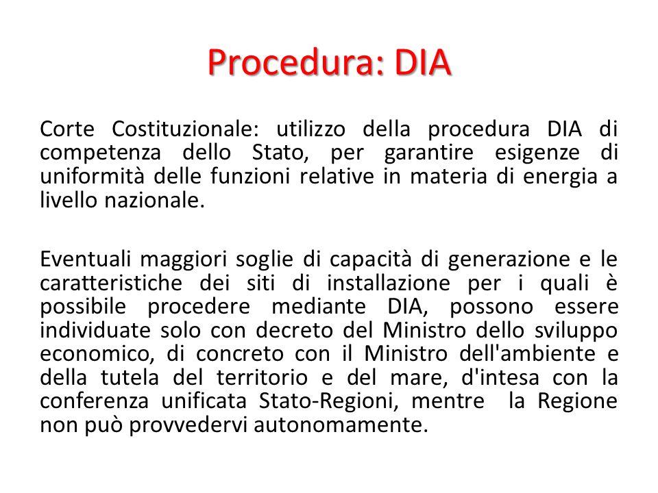 Procedura: DIA Corte Costituzionale: utilizzo della procedura DIA di competenza dello Stato, per garantire esigenze di uniformità delle funzioni relative in materia di energia a livello nazionale.