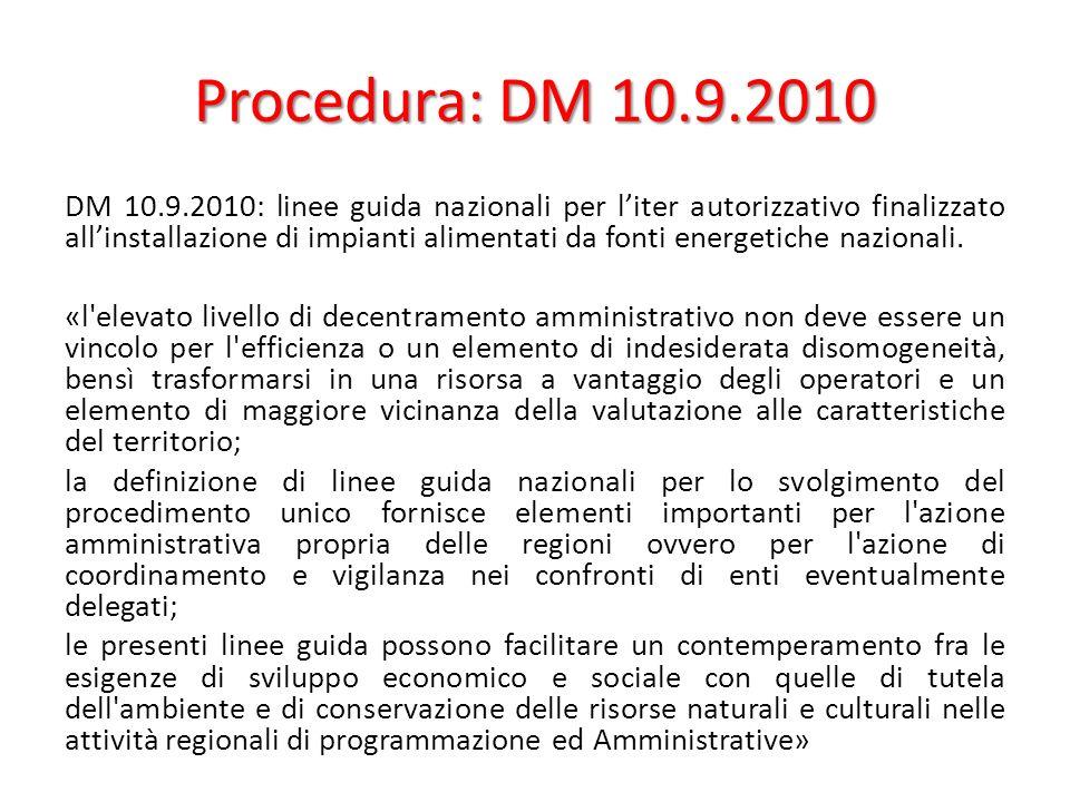 Procedura: DM 10.9.2010 DM 10.9.2010: linee guida nazionali per liter autorizzativo finalizzato allinstallazione di impianti alimentati da fonti energetiche nazionali.