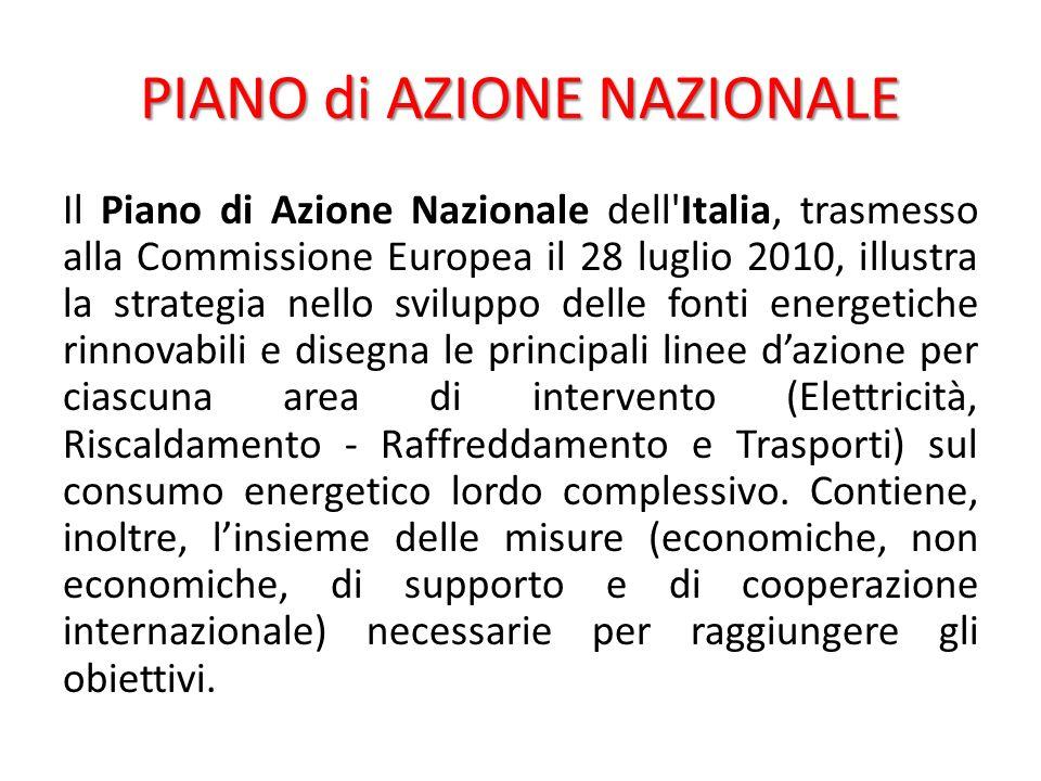 Il Piano di Azione Nazionale dell Italia, trasmesso alla Commissione Europea il 28 luglio 2010, illustra la strategia nello sviluppo delle fonti energetiche rinnovabili e disegna le principali linee dazione per ciascuna area di intervento (Elettricità, Riscaldamento - Raffreddamento e Trasporti) sul consumo energetico lordo complessivo.