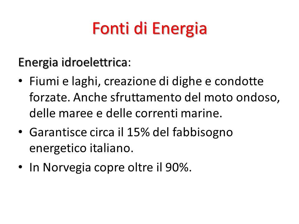 Fonti di Energia Energia idroelettrica Energia idroelettrica: Fiumi e laghi, creazione di dighe e condotte forzate.