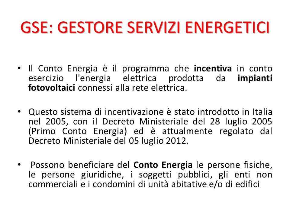 GSE: GESTORE SERVIZI ENERGETICI Il Conto Energia è il programma che incentiva in conto esercizio l energia elettrica prodotta da impianti fotovoltaici connessi alla rete elettrica.
