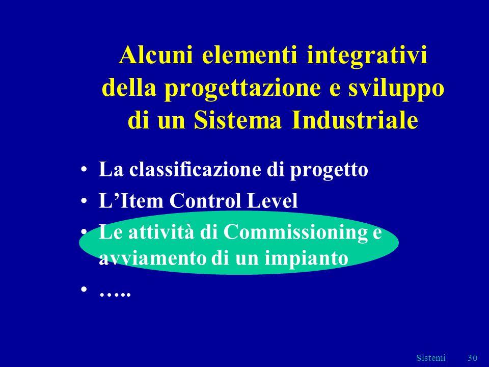 Sistemi30 Alcuni elementi integrativi della progettazione e sviluppo di un Sistema Industriale La classificazione di progetto LItem Control Level Le attività di Commissioning e avviamento di un impianto …..
