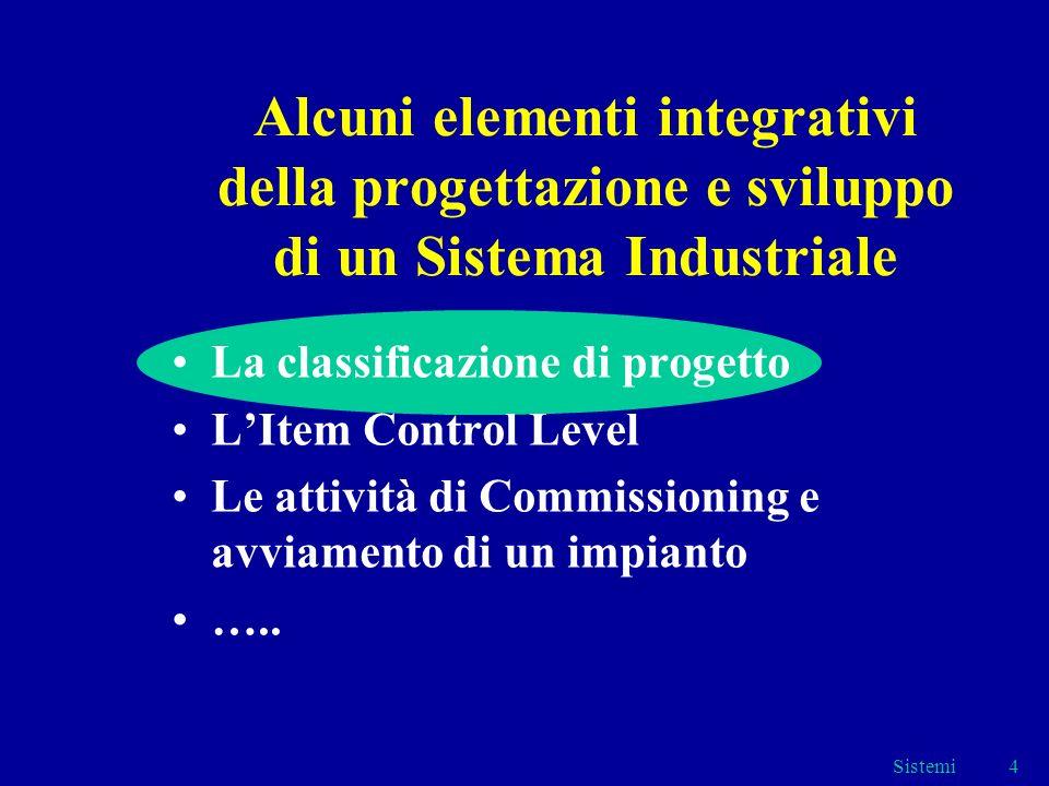 Sistemi4 Alcuni elementi integrativi della progettazione e sviluppo di un Sistema Industriale La classificazione di progetto LItem Control Level Le attività di Commissioning e avviamento di un impianto …..