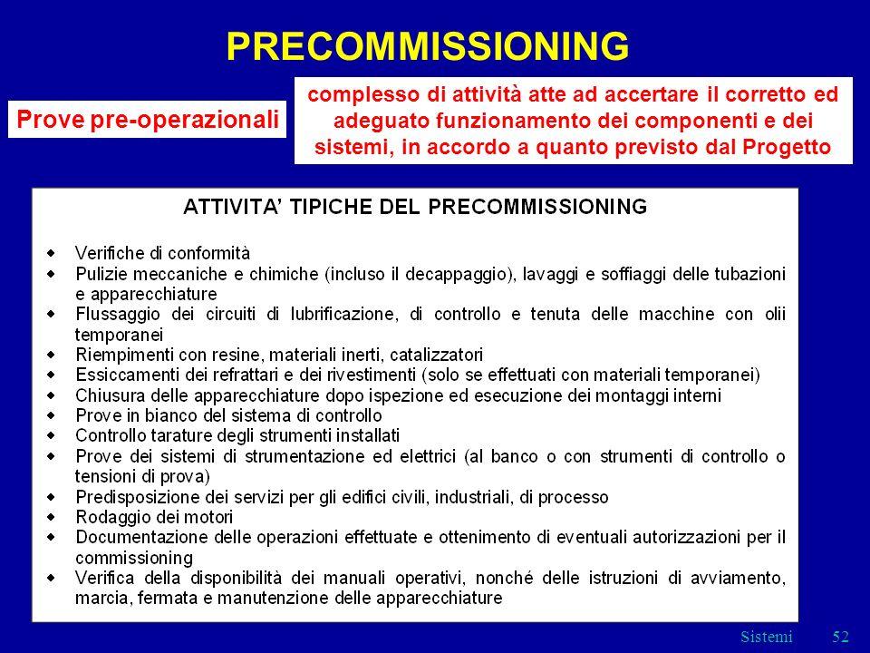 Sistemi52 PRECOMMISSIONING Prove pre-operazionali complesso di attività atte ad accertare il corretto ed adeguato funzionamento dei componenti e dei sistemi, in accordo a quanto previsto dal Progetto