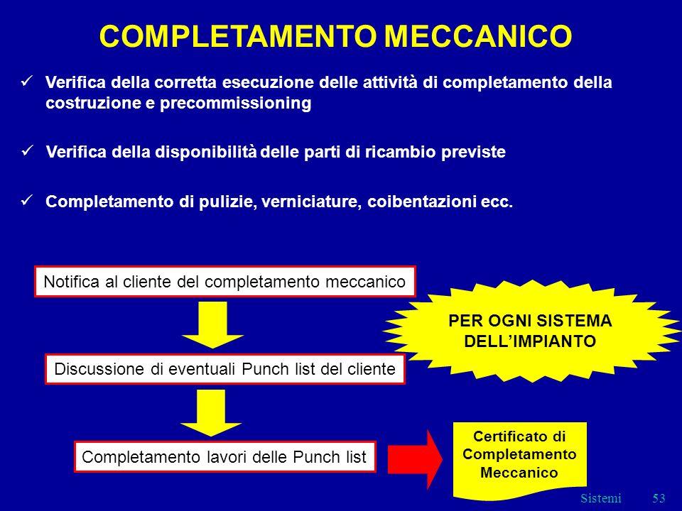Sistemi53 COMPLETAMENTO MECCANICO Verifica della corretta esecuzione delle attività di completamento della costruzione e precommissioning Verifica della disponibilità delle parti di ricambio previste Completamento di pulizie, verniciature, coibentazioni ecc.