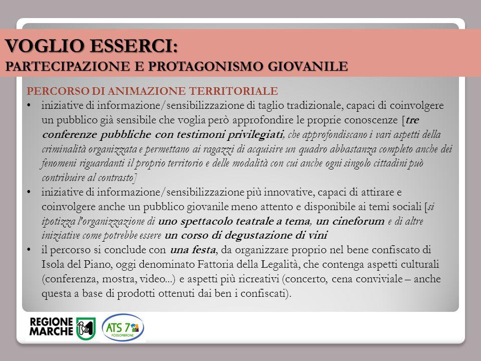 VOGLIO ESSERCI: PARTECIPAZIONE E PROTAGONISMO GIOVANILE PERCORSO DI ANIMAZIONE TERRITORIALE iniziative di informazione/sensibilizzazione di taglio tra
