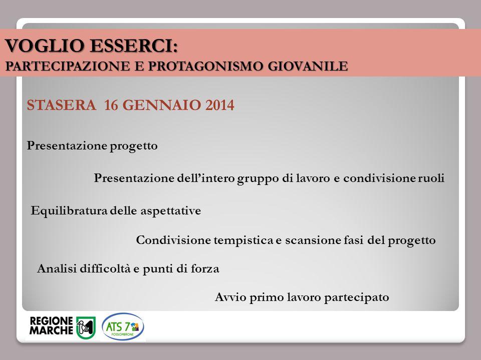 VOGLIO ESSERCI: PARTECIPAZIONE E PROTAGONISMO GIOVANILE STASERA 16 GENNAIO 2014 Presentazione progetto Equilibratura delle aspettative Presentazione d