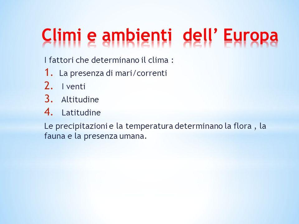I fattori che determinano il clima : 1. La presenza di mari/correnti 2. I venti 3. Altitudine 4. Latitudine Le precipitazioni e la temperatura determi