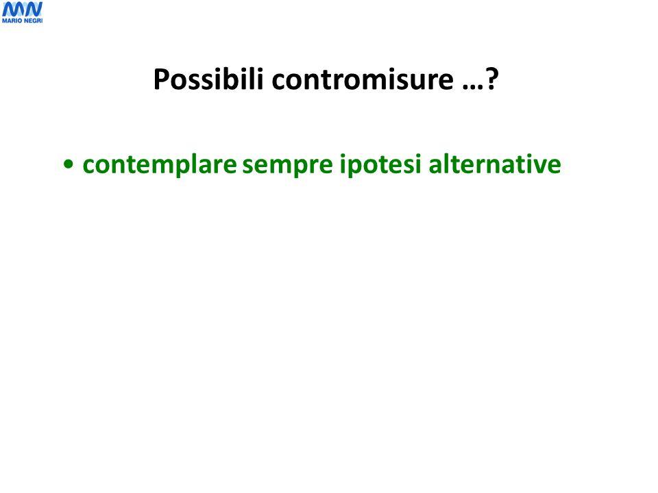 contemplare sempre ipotesi alternative Possibili contromisure …?