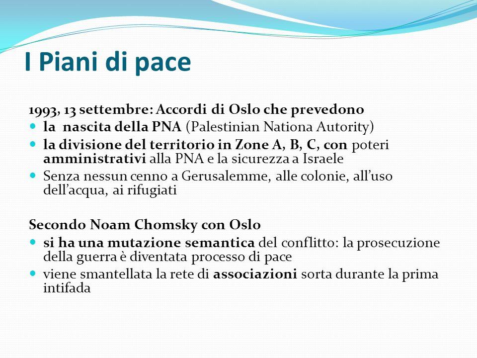 I Piani di pace 1993, 13 settembre: Accordi di Oslo che prevedono la nascita della PNA (Palestinian Nationa Autority) la divisione del territorio in Z