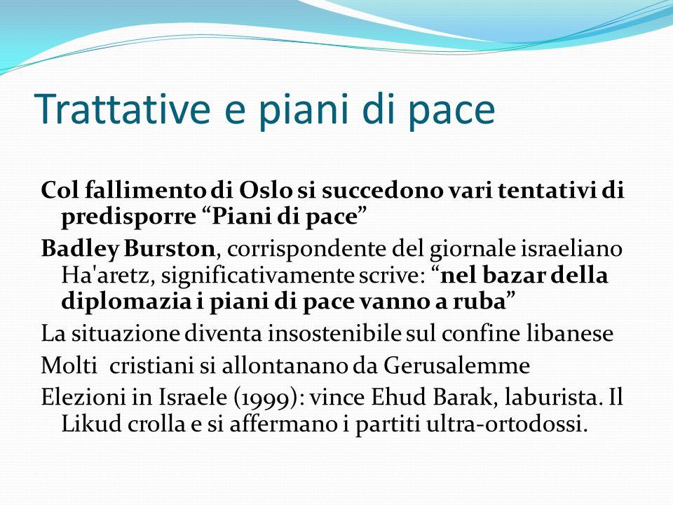 Trattative e piani di pace Col fallimento di Oslo si succedono vari tentativi di predisporre Piani di pace Badley Burston, corrispondente del giornale