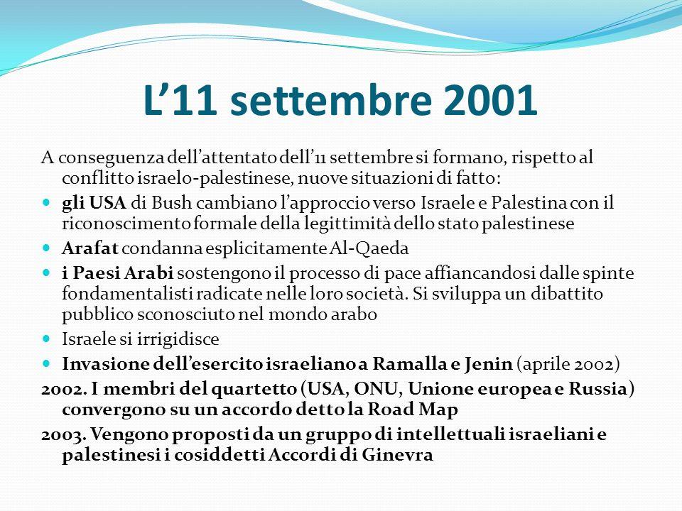 L11 settembre 2001 A conseguenza dellattentato dell11 settembre si formano, rispetto al conflitto israelo-palestinese, nuove situazioni di fatto: gli