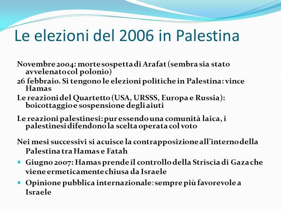 Le elezioni del 2006 in Palestina Novembre 2004: morte sospetta di Arafat (sembra sia stato avvelenato col polonio) 26 febbraio. Si tengono le elezion