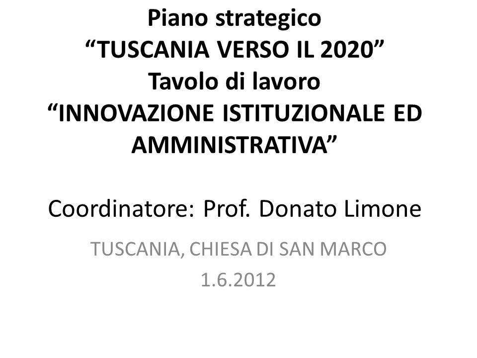 Piano strategico TUSCANIA VERSO IL 2020 Tavolo di lavoro INNOVAZIONE ISTITUZIONALE ED AMMINISTRATIVA Coordinatore: Prof.