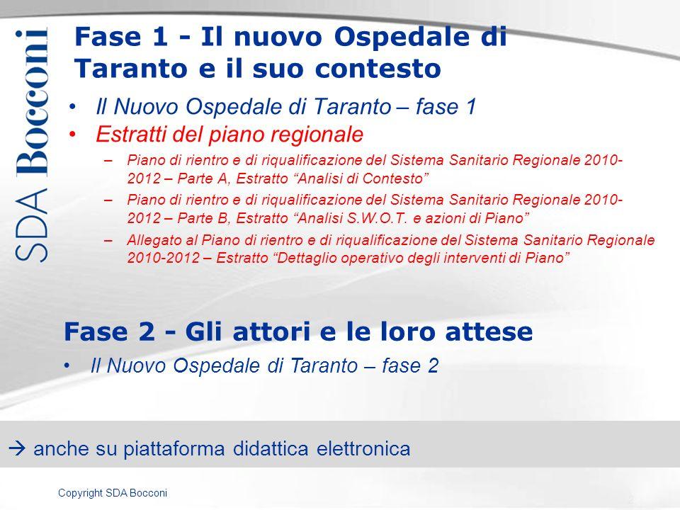 Copyright SDA Bocconi Fase 1 - Il nuovo Ospedale di Taranto e il suo contesto Il Nuovo Ospedale di Taranto – fase 1 Estratti del piano regionale –Pian