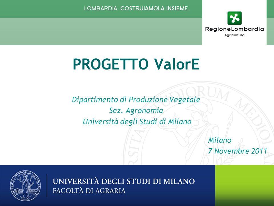 Milano 7 Novembre 2011 PROGETTO ValorE Dipartimento di Produzione Vegetale Sez.