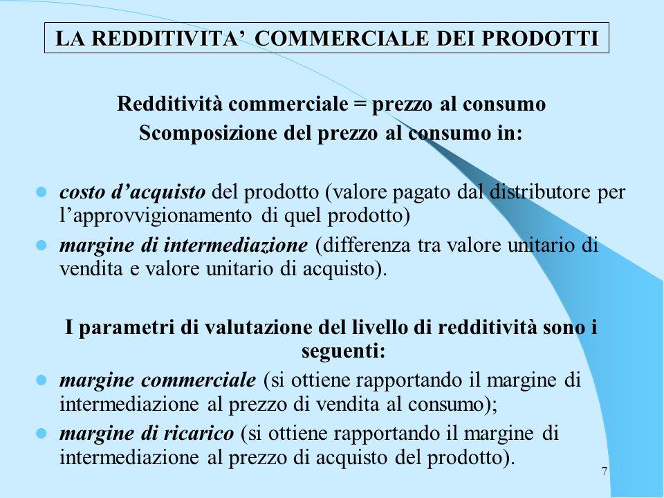 7 LA REDDITIVITA COMMERCIALE DEI PRODOTTI Redditività commerciale = prezzo al consumo Scomposizione del prezzo al consumo in: costo dacquisto del prod