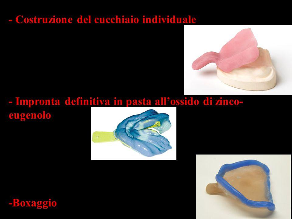 - Costruzione del cucchiaio individuale - Impronta definitiva in pasta allossido di zinco- eugenolo -Boxaggio