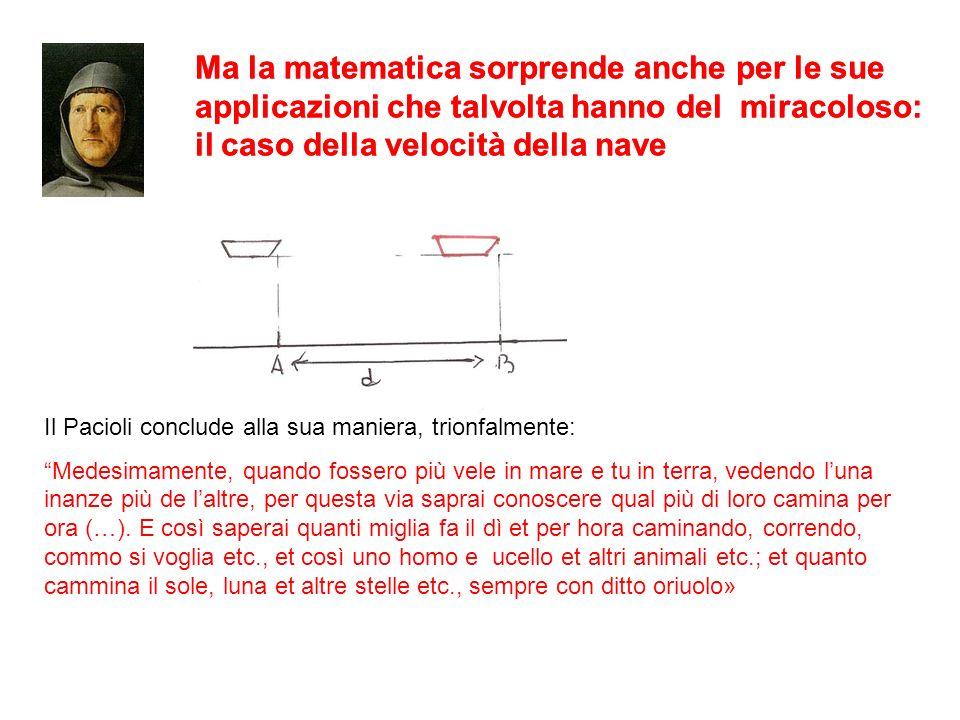 Ma la matematica sorprende anche per le sue applicazioni che talvolta hanno del miracoloso: il caso della velocità della nave Il Pacioli conclude alla