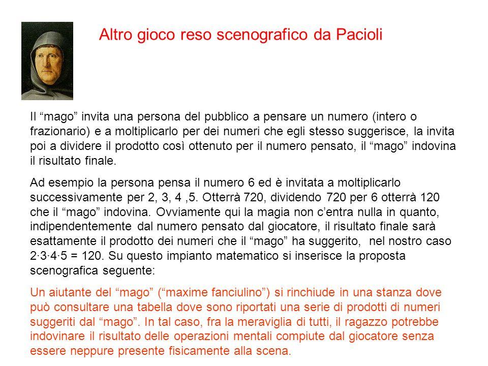 Altro gioco reso scenografico da Pacioli Il mago invita una persona del pubblico a pensare un numero (intero o frazionario) e a moltiplicarlo per dei