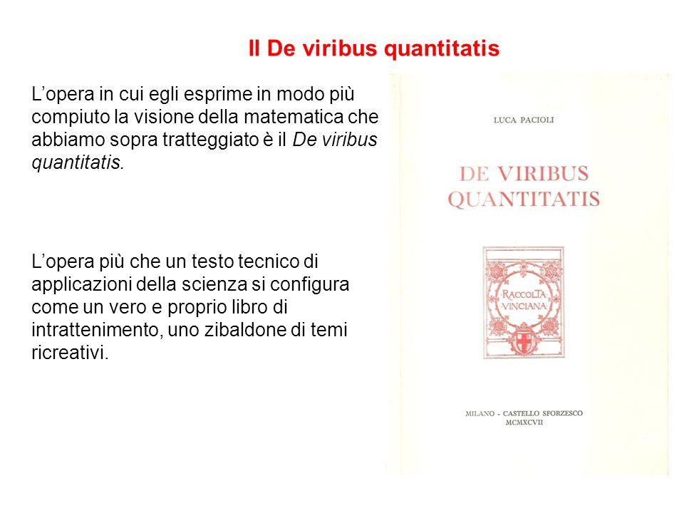Lopera in cui egli esprime in modo più compiuto la visione della matematica che abbiamo sopra tratteggiato è il De viribus quantitatis. Lopera più che