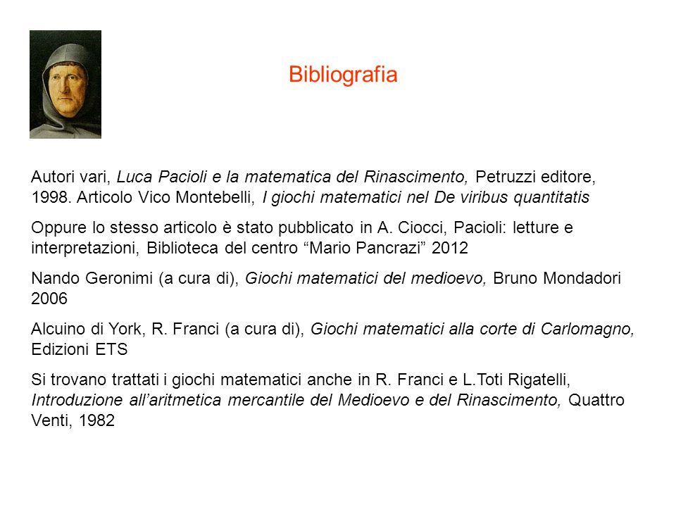 Autori vari, Luca Pacioli e la matematica del Rinascimento, Petruzzi editore, 1998. Articolo Vico Montebelli, I giochi matematici nel De viribus quant
