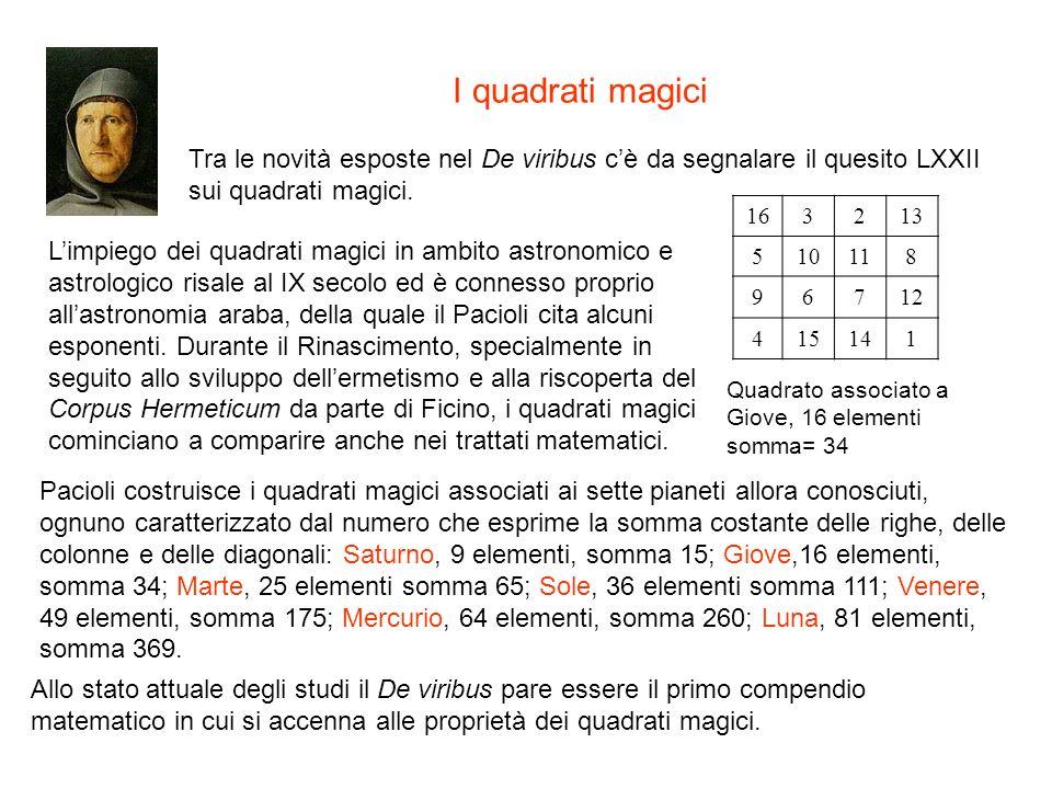I quadrati magici Tra le novità esposte nel De viribus cè da segnalare il quesito LXXII sui quadrati magici. Limpiego dei quadrati magici in ambito as