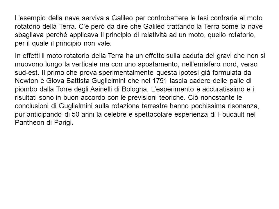 Lesempio della nave serviva a Galileo per controbattere le tesi contrarie al moto rotatorio della Terra. Cè però da dire che Galileo trattando la Terr